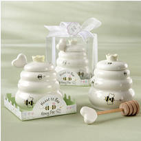 Meant to Bee Ceramic Honey Pot with Wooden Dipper Wedding Favor
