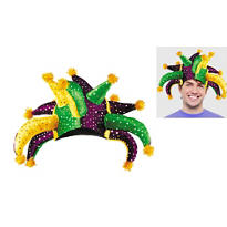 Crazy Sequined Mardi Gras Jester Hat
