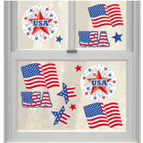Vinyl Patriotic Window Decorations 13ct