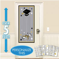 Black & Gold Personalized Graduation Door Decoration 65in