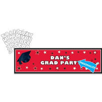 Red Personalized Graduation Banner 65in