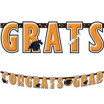 Orange Graduation Letter Banner 10ft