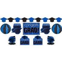 Royal Blue Graduation Decorating Kit 10pc