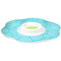Blue Printed Plastic Chip & Dip Tray 13 1/2in