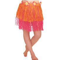 Adult Orange & Pink Mini Hula Skirt