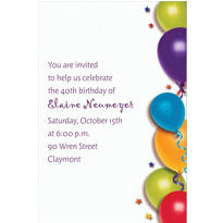 Balloon & Stars Custom Invitation