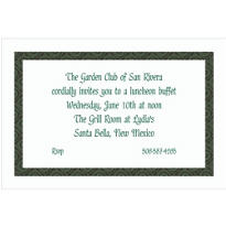 Green Moroccan Border White Custom Invitation