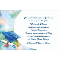 Blue Mortarboard and Swoosh Custom Graduation Invitation