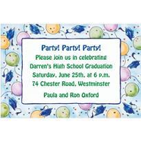 Blue Balloons and Caps Custom Graduation Invitation