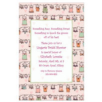 Lingerie Clothesline Custom Bridal Shower Invitation