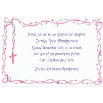 Custom Rosary with Pink Ribbon Invitations
