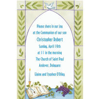 Communion Book with Rosary Custom Invitation