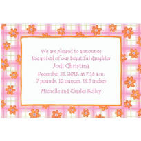 Pink Plaid with Daisies Custom Birth Announcements