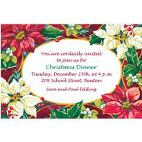 Poinsettias and Evergreens Custom Invitation