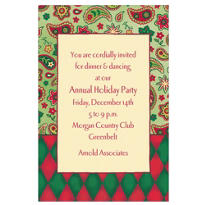 Christmas Paisley Border Custom Invitation