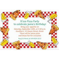 Pizza Party Border Custom Invitation