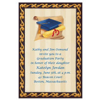 Custom Blue Grad Portrait Graduation Invitations