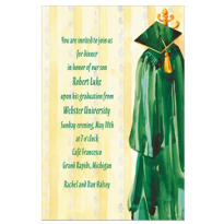 Custom Green Gown Graduation Invitations