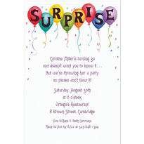 Surprise in Balloons Custom Invitation