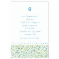 Tiny Blue Cross with Swirls Custom Invitation