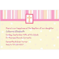Cross with Patterns Pink Custom Invitation