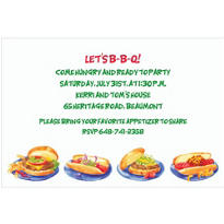 Hamburgers & Hotdogs Custom Invitation