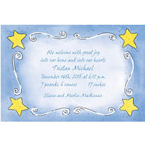 Sweet Stars & Swirls Custom Birth Announcements