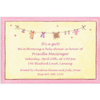 Baby Girl Laundry Custom Baby Shower Invitation