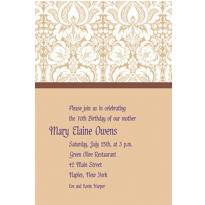 Beige Damask Custom Invitation