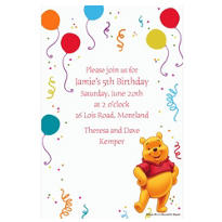 Pooh and Party Balloons Custom Invitation