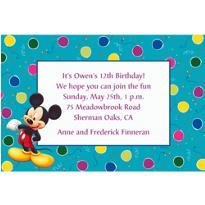 Teal Mickey Mouse Party Custom Invitation