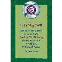 Washington Nationals Custom Invitation