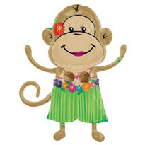 Foil Luau Monkey Girl Balloon 33in