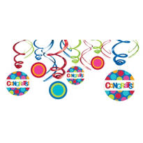 Congratulations Swirl Decorations 12ct - Cabana Polka Dot