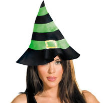 Green & Black Felt Witch Hat