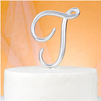 Monogram T Wedding Cake Topper