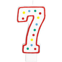 Number 7 Polka Dot Birthday Candle with Glitter 5in
