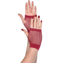 Short Burgundy Fishnet Gloves