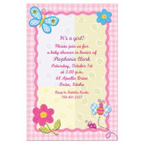 Hugs and Stitches Girl Custom Baby Shower Invitation