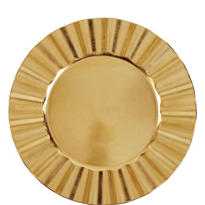 Gold Metallic Ruffle Plastic Charger 13in