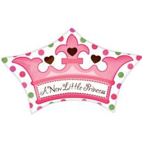 Foil Little Princess Crown Baby Shower Balloon 19in
