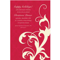 Holiday Filigree Red Custom Invitation