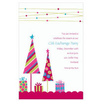 Cute Trees & Gifts Pink Custom Invitation