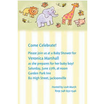 Tossed Animals & Stripe Custom Baby Shower Invitation