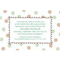 Custom Green Dots Border Baby Shower Invitations