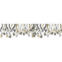 Gold & Silver New Years Hanging Swirl Decorations 30ct