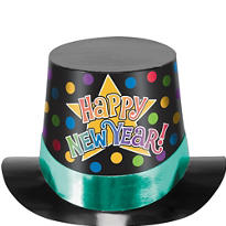 Jewel Tone New Years Top Hat 5in