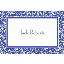 Royal Blue Ornamental Scroll Custom Thank You Note