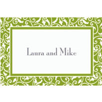Kiwi Ornamental Scroll Custom Thank You Note