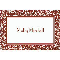 Brown Ornamental Scroll Custom Thank You Note